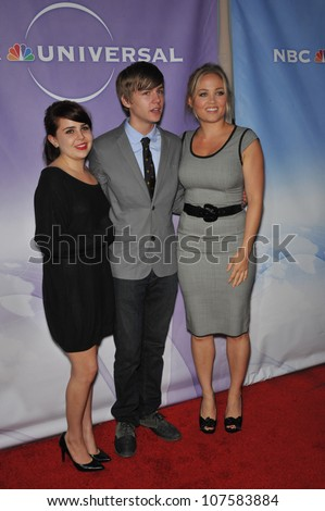 """LOS ANGELES, CA - AUGUST 1, 2010: Mae Whitman (left), Miles Heizer & Erika Christensen - stars of """"Parenthood"""" - at NBC Universal TV Summer Press Tour Party in Beverly Hills. - stock photo"""