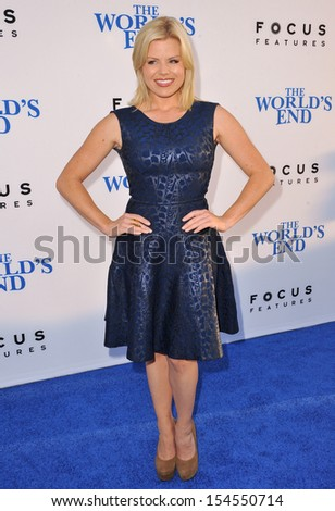 "LOS ANGELES, CA - AUGUST 21, 2013: Megan Hilty at the Los Angeles premiere of ""The World's End"" at the Cinerama Dome, Hollywood."