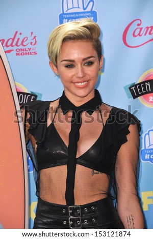 LOS ANGELES, CA - AUGUST 11, 2013: Miley Cyrus at the 2013 Teen Choice Awards at the Gibson Amphitheatre, Universal City, Hollywood.  - stock photo