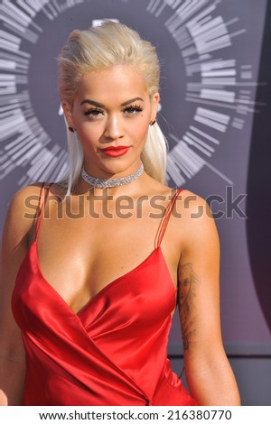 LOS ANGELES, CA - AUGUST 24, 2014: Rita Ora at the 2014 MTV Video Music Awards at the Forum, Los Angeles.  - stock photo