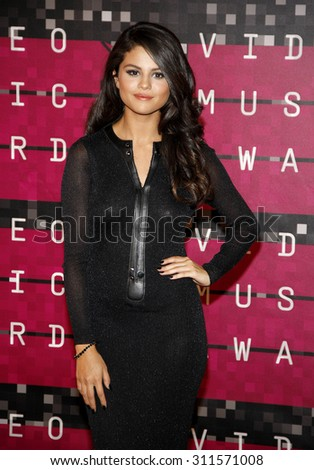 LOS ANGELES, CA - AUGUST 30, 2015: Selena Gomez at the 2015 MTV Video Music Awards held at the Microsoft Theater in Los Angeles, USA on August 30, 2015. - stock photo