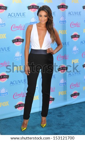 LOS ANGELES, CA - AUGUST 11, 2013: Shay Mitchell at the 2013 Teen Choice Awards at the Gibson Amphitheatre, Universal City, Hollywood.  - stock photo