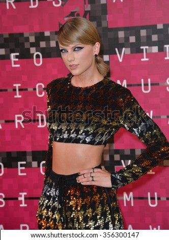 LOS ANGELES, CA - AUGUST 30, 2015: Taylor Swift at the 2015 MTV Video Music Awards at the Microsoft Theatre LA Live.