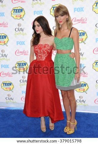LOS ANGELES, CA - AUGUST 10, 2014: Taylor Swift & Odeya Rush at the 2014 Teen Choice Awards at the Shrine Auditorium. - stock photo