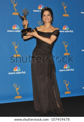 LOS ANGELES, CA - AUGUST 29, 2010: The Good Wife star Archie Panjabi at the 2010 Primetime Emmy Awards at the Nokia Theatre L.A. Live in downtown Los Angeles.