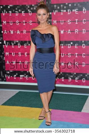 LOS ANGELES, CA - AUGUST 30, 2015: TV presenter Maria Menounos at the 2015 MTV Video Music Awards at the Microsoft Theatre LA Live.  - stock photo