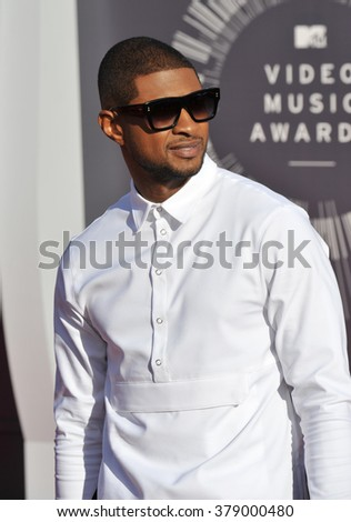 LOS ANGELES, CA - AUGUST 24, 2014: Usher at the 2014 MTV Video Music Awards at the Forum, Los Angeles. - stock photo