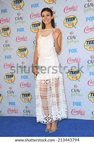 LOS ANGELES, CA - AUGUST 10, 2014: Victoria Justice at the 2014 Teen Choice Awards at the Shrine Auditorium.