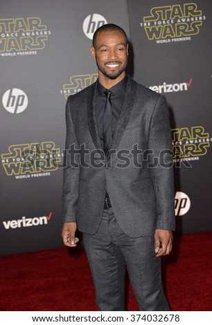 "LOS ANGELES, CA - DECEMBER 14, 2015: Actor Isaiah Mustafa at the world premiere of ""Star Wars: The Force Awakens"" on Hollywood Boulevard. Picture: Paul Smith / Featureflash - stock photo"