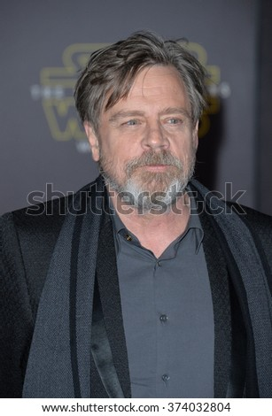 "LOS ANGELES, CA - DECEMBER 14, 2015: Actor Mark Hamill at the world premiere of ""Star Wars: The Force Awakens"" on Hollywood Boulevard. Picture: Paul Smith / Featureflash - stock photo"