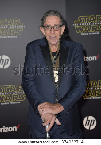 "LOS ANGELES, CA - DECEMBER 14, 2015: Actor Peter Mayhew at the world premiere of ""Star Wars: The Force Awakens"" on Hollywood Boulevard. Picture: Paul Smith / Featureflash - stock photo"