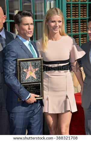 LOS ANGELES, CA - DECEMBER 8, 2015: Actor Rob Lowe & actress Gwyneth Paltrow on Hollywood Boulevard where Lowe was honored with the 2,567th star on the Hollywood Walk of Fame. - stock photo