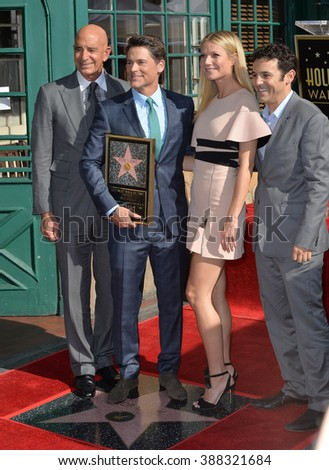 LOS ANGELES, CA - DECEMBER 8, 2015: Actor Rob Lowe with Gwyneth Paltrow, Miramax chairman Tom Barrack & actor Fred Savage at Lowe's star ceremony on Hollywood Walk of Fame. - stock photo