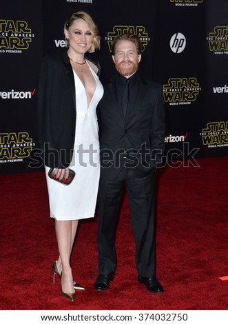 "LOS ANGELES, CA - DECEMBER 14, 2015: Actor Seth Green & actress wife Claire Grant at the world premiere of ""Star Wars: The Force Awakens"" on Hollywood Boulevard. Picture: Paul Smith / Featureflash - stock photo"
