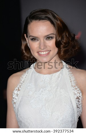 """LOS ANGELES, CA - DECEMBER 14, 2015: Actress Daisy Ridley at the world premiere of """"Star Wars: The Force Awakens"""" on Hollywood Boulevard - stock photo"""