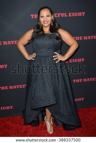 """LOS ANGELES, CA - DECEMBER 7, 2015: Actress Dana Gourrier at the world premiere of Quentin Tarantino's """"The Hateful Eight"""" at the Cinerama Dome, Hollywood - stock photo"""