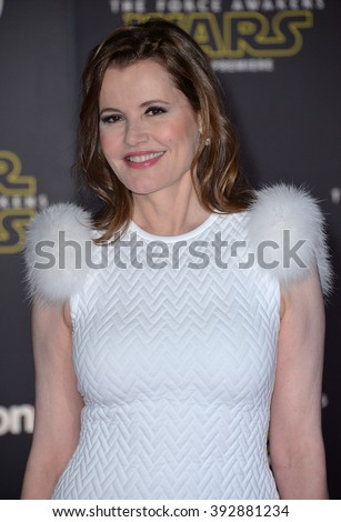 """LOS ANGELES, CA - DECEMBER 14, 2015: Actress Geena Davis at the world premiere of """"Star Wars: The Force Awakens"""" on Hollywood Boulevard - stock photo"""