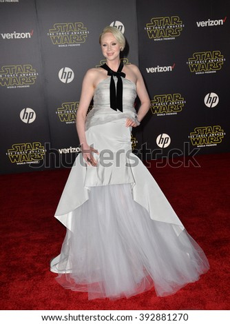 "LOS ANGELES, CA - DECEMBER 14, 2015: Actress Gwendoline Christie at the world premiere of ""Star Wars: The Force Awakens"" on Hollywood Boulevard"