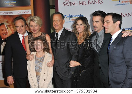"LOS ANGELES, CA - DECEMBER 9, 2013: Bradley Whitford, Emma Thompson, Tom Hanks, Rita Wilson, Colin Farrell, BJ Novak & Annie Rose Buckley at the premiere of  ""Saving Mr Banks"" at Walt Disney Studios.  - stock photo"