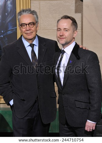 "LOS ANGELES, CA - DECEMBER 9, 2014: Composer Howard Shore & singer Billy Boyd at the Los Angeles premiere of their movie ""The Hobbit: The Battle of the Five Armies"" at the Dolby Theatre, Hollywood.  - stock photo"