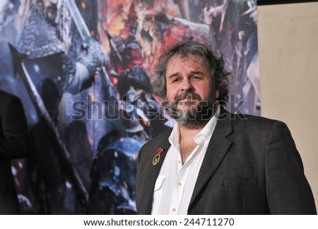 "LOS ANGELES, CA - DECEMBER 9, 2014: Director Peter Jackson at the Los Angeles premiere of his movie ""The Hobbit: The Battle of the Five Armies"" at the Dolby Theatre, Hollywood.  - stock photo"