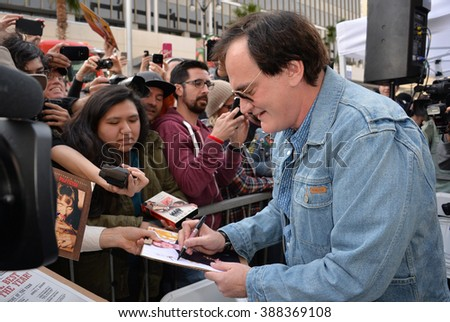 LOS ANGELES, CA - DECEMBER 21, 2015: Director Quentin Tarantino outside the TCL Chinese Theatre on Hollywood Boulevard where he was honored with the 2,569th star on the Hollywood Walk of Fame