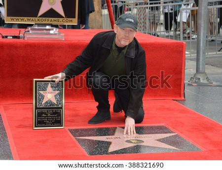 LOS ANGELES, CA - DECEMBER 10, 2015: Director Ron Howard on Hollywood Boulevard where he was honored with the 2,568th star on the Hollywood Walk of Fame. - stock photo