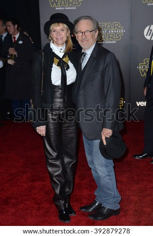 "LOS ANGELES, CA - DECEMBER 14, 2015: Director Steven Spielberg & actress wife Kate Capshaw at the world premiere of ""Star Wars: The Force Awakens"" on Hollywood Boulevard"