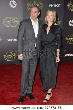 "LOS ANGELES, CA - DECEMBER 14, 2015: Disney boss Robert Iger & wife Willow Bay at the world premiere of ""Star Wars: The Force Awakens"" on Hollywood Boulevard"