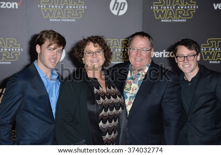 "LOS ANGELES, CA - DECEMBER 14, 2015: Disney-Pixar boss John Lasseter & wife & sons at the world premiere of ""Star Wars: The Force Awakens"" on Hollywood Boulevard. Picture: Paul Smith / Featureflash - stock photo"