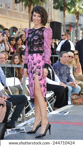 LOS ANGELES, CA - DECEMBER 8, 2014: Evangeline Lilly on Hollywood Blvd where director Peter Jackson was honored with the 2,538th star on the Hollywood Walk of Fame.  - stock photo