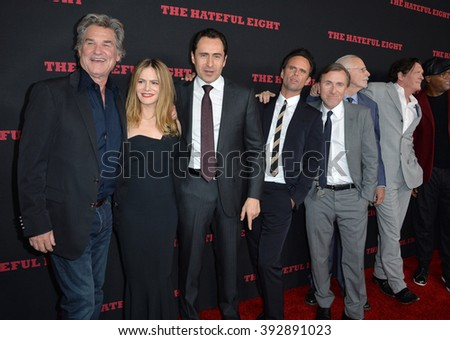 "LOS ANGELES, CA - DECEMBER 7, 2015: Hateful Eight stars Kurt Russell (left), Jennifer Jason Leigh, Demian Bishir, Walton Goggins, Tim Roth & Michael Madsen at the premiere ""The Hateful Eight"""