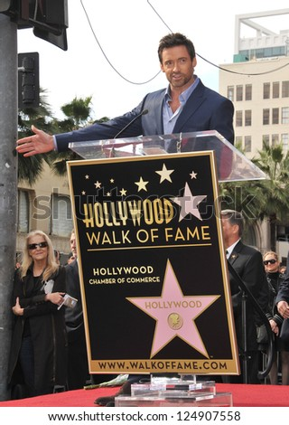 LOS ANGELES, CA - DECEMBER 13, 2012: Hugh Jackman is honored with the 2,487th star on the Hollywood Walk of Fame. - stock photo