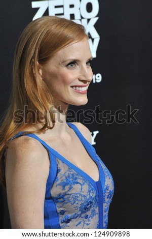 """LOS ANGELES, CA - DECEMBER 10, 2012: Jessica Chastain at the premiere of her movie """"Zero Dark Thirty"""" at the Dolby Theatre, Hollywood. - stock photo"""