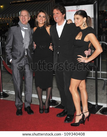 """LOS ANGELES, CA - DECEMBER 9, 2009: John Deluca (left), Penelope Cruz, director Rob Marshall & Stacy """"Fergie"""" Ferguson at the Los Angeles premiere of """"Nine"""" at the Mann Village Theatre, Westwood. - stock photo"""