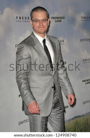 "LOS ANGELES, CA - DECEMBER 6, 2012: Matt Damon at the Los Angeles premiere of his new movie ""Promised Land"" at the Directors Guild Theatre. - stock photo"