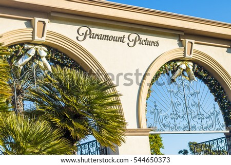 Los Angeles, CA - December 29: Paramount Pictures gate on December 28, 2015 in Los Angeles. Paramount Pictures in the oldest film studio in Los Angeles.