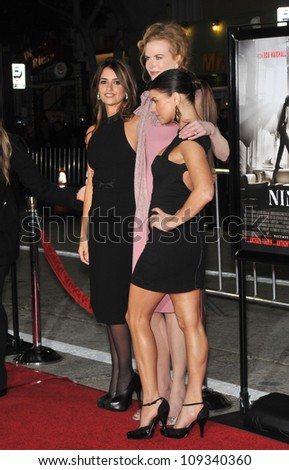 "LOS ANGELES, CA - DECEMBER 9, 2009: Penelope Cruz (left), Nicole Kidman & Stacy ""Fergie"" Ferguson at the Los Angeles premiere of their new movie ""Nine"" at the Mann Village Theatre, Westwood. - stock photo"