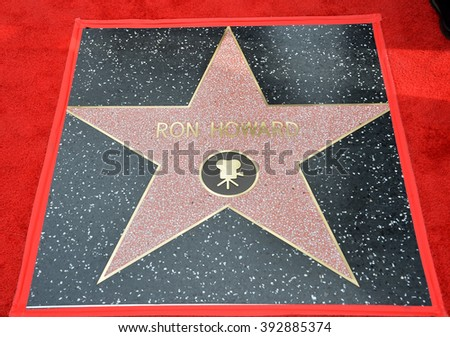 LOS ANGELES, CA - DECEMBER 10, 2015: Ron Howard's Star at Ron Howard's Hollywood Walk of Fame star ceremony - stock photo