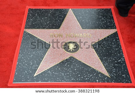 LOS ANGELES, CA - DECEMBER 10, 2015: Ron Howard's Star on Hollywood Boulevard where he was honored with the 2,568th star on the Hollywood Walk of Fame.
