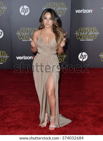 "LOS ANGELES, CA - DECEMBER 14, 2015: Singer Becky G. at the world premiere of ""Star Wars: The Force Awakens"" on Hollywood Boulevard. Picture: Paul Smith / Featureflash - stock photo"