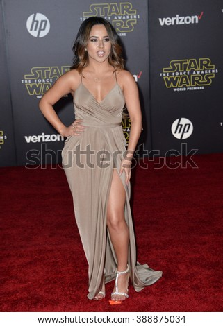 """LOS ANGELES, CA - DECEMBER 14, 2015: Singer Becky G. at the world premiere of """"Star Wars: The Force Awakens"""" on Hollywood Boulevard - stock photo"""