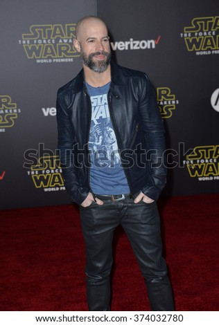 "LOS ANGELES, CA - DECEMBER 14, 2015: Singer Chris Daughtry at the world premiere of ""Star Wars: The Force Awakens"" on Hollywood Boulevard. Picture: Paul Smith / Featureflash - stock photo"