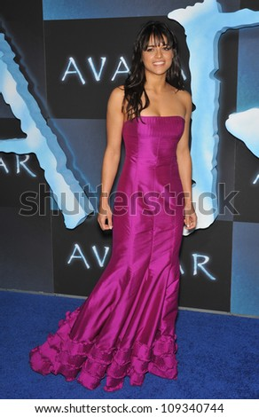 "LOS ANGELES, CA - DECEMBER 16, 2009: Singer Michelle Rodriguez at the Los Angeles premiere of her new movie ""Avatar"" at Grauman's Chinese Theatre, Hollywood."