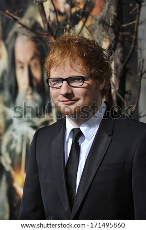 "LOS ANGELES, CA - DECEMBER 2, 2013: Singer/songwriter Ed Sheeran at the Los Angeles premiere of ""The Hobbit: The Desolation of Smaug"" at the Dolby Theatre, Hollywood."