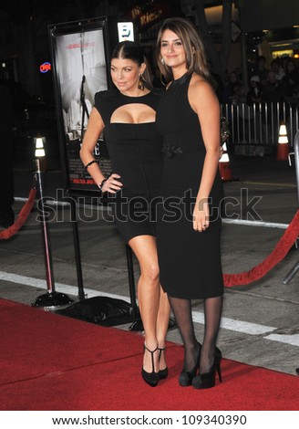 """LOS ANGELES, CA - DECEMBER 9, 2009: Stacy """"Fergie"""" Ferguson (left) & Penelope Cruz at the Los Angeles premiere of their new movie """"Nine"""" at the Mann Village Theatre, Westwood. - stock photo"""