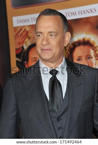 "LOS ANGELES, CA - DECEMBER 9, 2013: Tom Hanks at the US premiere of his movie ""Saving Mr Banks"" at Walt Disney Studios, Burbank.  - stock photo"