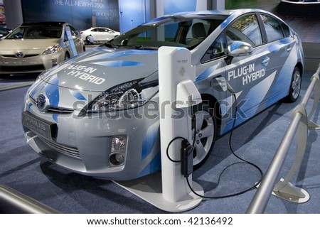 LOS ANGELES, CA. - DECEMBER 3: Toyota Prius Plug-In Hybrid on display at the 2009 Los Angeles Auto Show at L.A. Convention Center on December 3, 2009 in Los Angeles - stock photo
