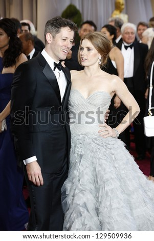 LOS ANGELES, CA - FEB 24: Amy Adams, Darren Le Gallo at the 85th Annual Academy Awards on February 24, 2013 in Los Angeles, California