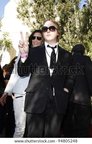 LOS ANGELES, CA - FEB 9: James McCartney; Nancy Shevell at a ceremony where Paul McCartney is honored with a star on The Hollywood Walk Of Fame on February 9, 2012 in Los Angeles, California